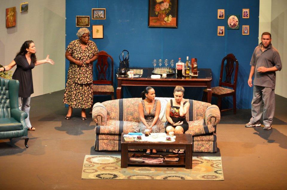 "Nikki Crosby, Cecilia Salazar, Rachel Bascombe-Koranteng, Clifford Learmond and Caroline Taylor in ""Coming Home"" by Theresa Awai, directed by Raymond Choo Kong (Trinidad, 2012)"