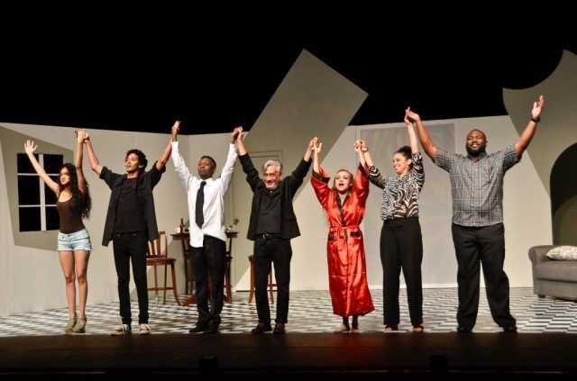 "Cast of ""Party Done"" take a final bow (Cecilia Salazar, Arnold Goindhan, Kevon Brooks, Trevon Jugmohan, Raymond Choo Kong and Caroline Taylor) • Trinidad, 2015"