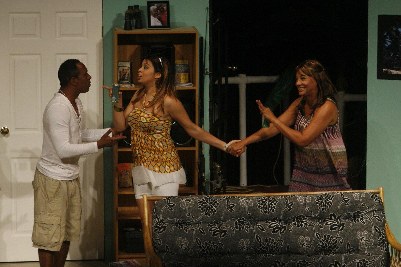 "Nigel Auguste, Caroline Taylor and Leslie Ann Lavine in ""Girls on the Side"" (Trinidad, 2011). Photo: David Wears"
