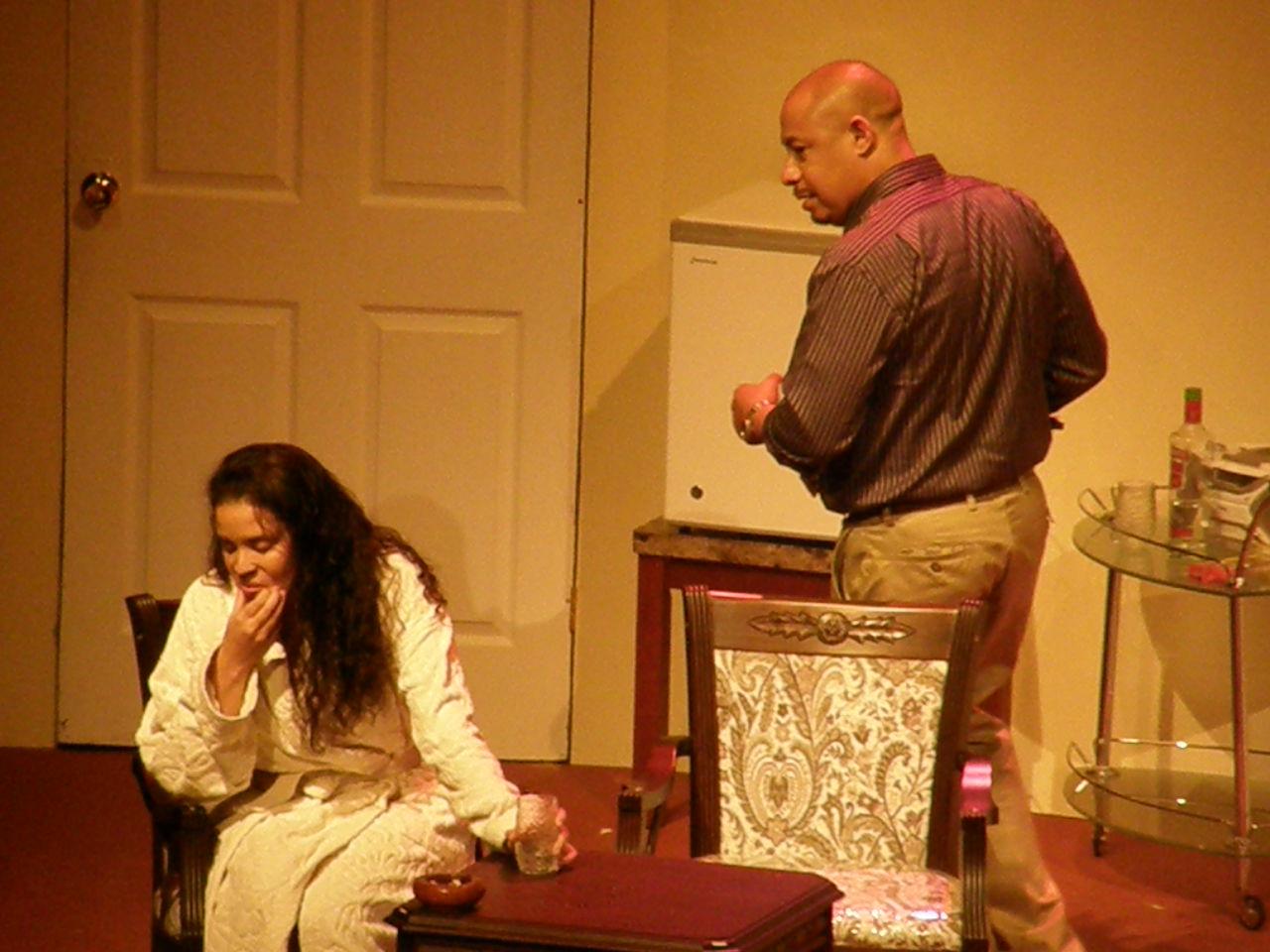"Richard Ragoobarsingh and Caroline Taylor in ""The Prime Minister's Speech"" [aka Feelgood], Trinidad, 2011"