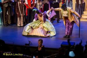Caroline Taylor and David Stephens as the Thénardiers take their curtain call in Les Misérables, 2014 Trinidad