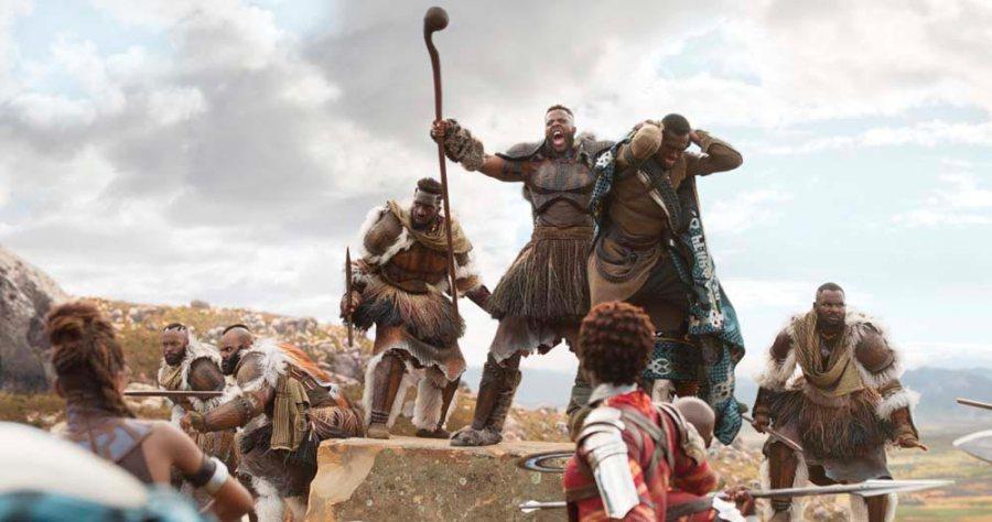 Winston Duke (at centre) as M'Baku in Black Panther. © Marvel Studios 2018